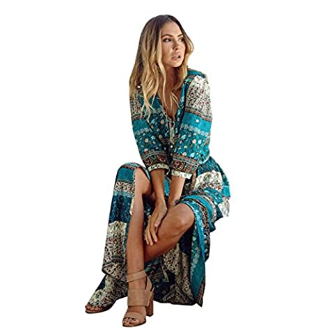 Summer Dress, Familizo Ladies Bohemian Tunic Floral Party Beach Long Maxi Dress (M, Green)