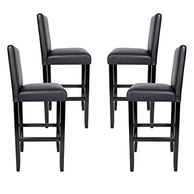 Miadomodo® Bar Stools made of Wood and Faux Leather 2pc Set Black - low-cost UK bar stool store.