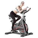 CANMALCHI Indoor hometrainer Spinning Bike voor thuis/fitnessgebruik,Verstelbare trainingsfiets, LCD-scherm met hartslagmeter, all-inclusive Super Mute Spinning Bike