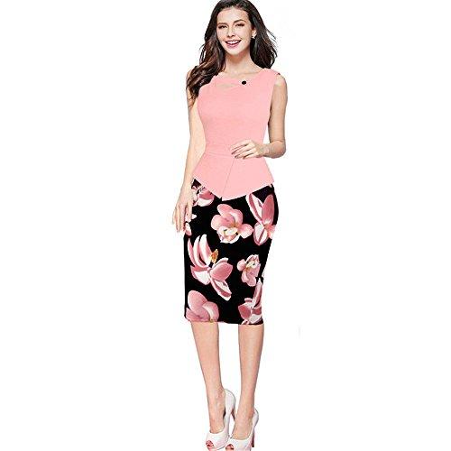 JOTHIN 2017 Damen Druck Bodycon Kleid Festkleid Rundausschnitt Etuikleider Langarm/ärmellose Bleistiftkleid Business Kleid Große Größen Rose