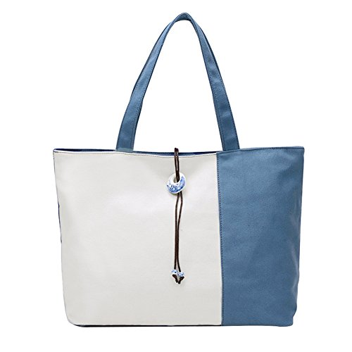 PB-SOAR Damen XXL Vintage Canvas Shopper Schultertasche Handtasche Strandtasche Einkaufstasche (Weiß / Schwarz) Weiß / Blau