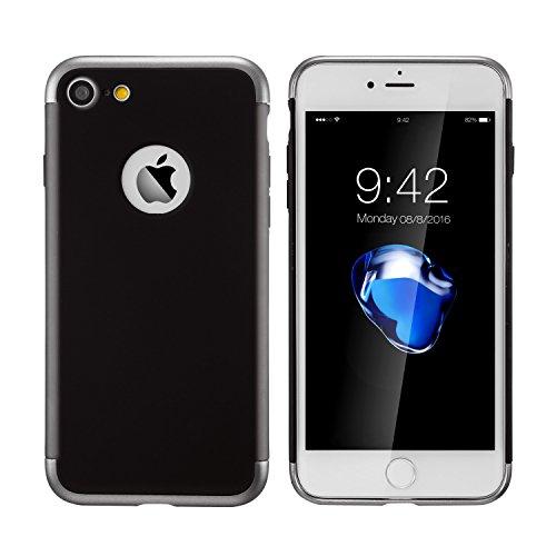 Apple iPhone 7plus Schutzhülle(4,7 Inch) 3 in 1 Stoß- ultradünne harte Schutzhülle für Apple iPhone 7 plus Stoßstange hintergrund beschützen(golden) Schwaz