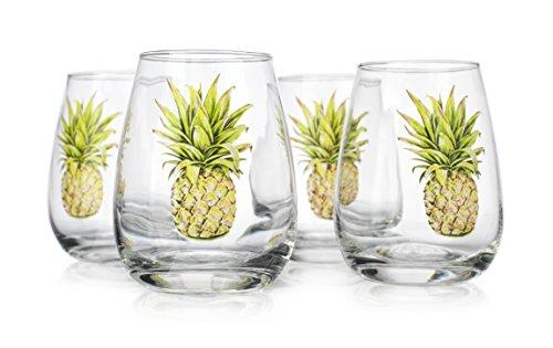 Elegant Home Set von 4Weingläser ohne Stiel Wein Glas-Einzigartige Neuheit-Gag Geschenk. Ananas