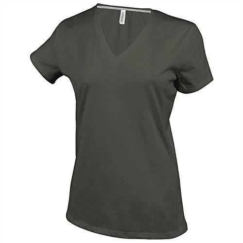 Kariban Herren T-Shirt Slim Fit V-Ausschnitt Schwarz