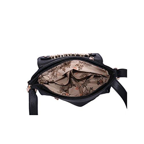 SHU CRAZY , Sac bandoulière pour femme Multicolore Bigarré Taille unique Multicolore - Noir