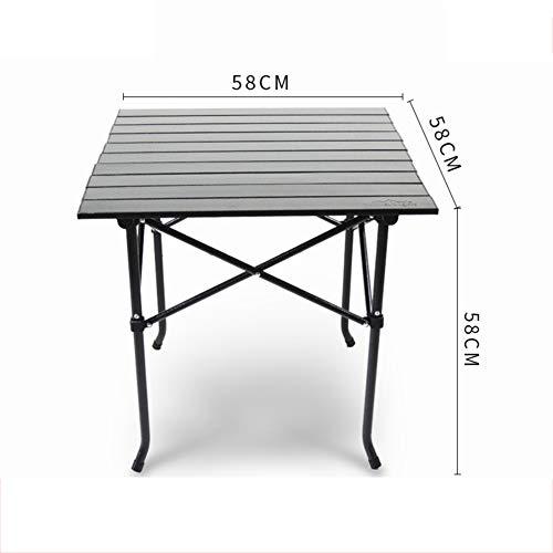 PeiQiH Extérieur Table Pliable, Portable Léger Simple Anti-dérapant Loisir Accueil Table avec Sac de Transport Pique-niques Plage Patio Voyage Table de Camping-Pas de Sac en Filet-B 58x58x58cm