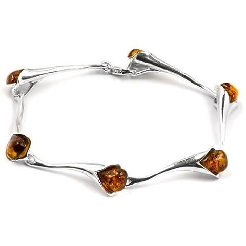 Argent sterling Ambre Fleur Bracelet 18,5cm