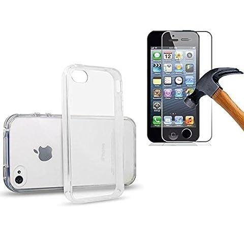 HQ-CLOUD Coque Gel en Silicone Transparent pour Iphone 5 / 5S / 5G / SE + 1 film de protection d'écran en verre trempé