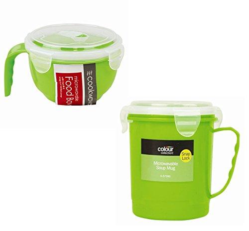 Ensemble 2 pièces Bol et tasse à soupe Passe au micro-ondes Green