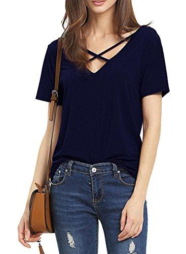 Suimiki Damen Sommer Kurzarm T-Shirt V-Ausschnitt mit Schnürung Vorne Oberteil Tops Bluse Shirt (L, Navy blau)