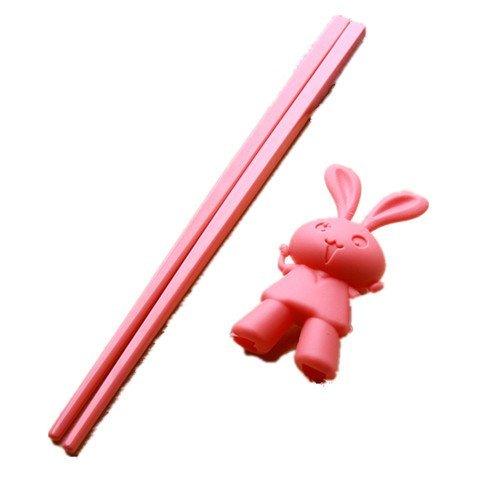 qiyunz-girls-kids-rabbit-safe-rubber-top-right-hand-training-chopsticks-one-pair-random-color