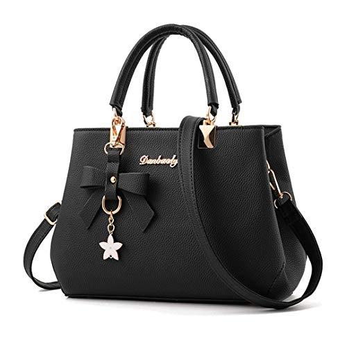Everberul Designer Womens Bowknot Handtaschen Umhängetaschen Schultertasche Black -