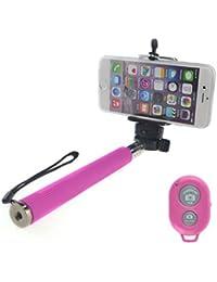 Connect Zone Sans Fil Téléscopique & Télécommande Bluetooth Support Téléphone Portable Mono-pied Bâton De Selfie - Rose