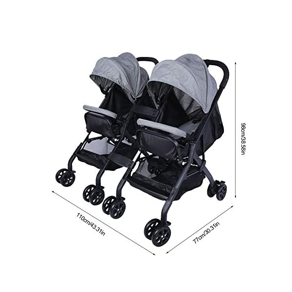 lyrlody Baby Stroller,Lightweight Twin Pushchair Detachable Double Stroller Multifunction Folding Anti-Shock Pram with Baby Cup Holder for Babies Toddlers Children Kids Grey lyrlody LIGHTWEIGHT DESIGN:2 in 1 design, can be detached and used separately.Shock resistant design can effectively prevent external shock and keep your baby's brain Durable:Made of aluminum alloy material, very sturdy.With the baby cup holder, it is convenient for your baby to drink water Very Convenient:Large capacity, can hold more items for children, such as diapers, clothes and bottles 6