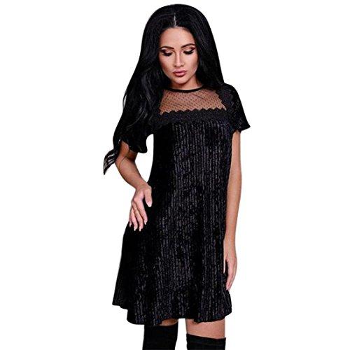 Damen Kleid, Kurzarm Spitze Patchwork Prinzessin Abendkleid für Frauen FRIENDGG Mädchen Beiläufig...