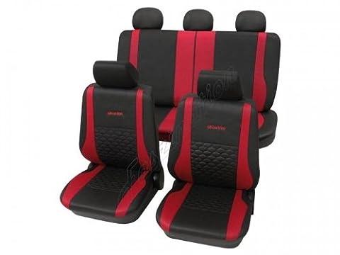 Housses pour sièges de voitures auto, Aspect cuir, Kit complet, Toyota Camry ohne Seitenairbag, anthracite noir rouge