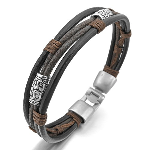 MunkiMix Alloy Genuine Leather Bracelet Bangle Rope Black Silver Tone Brown Men,Women
