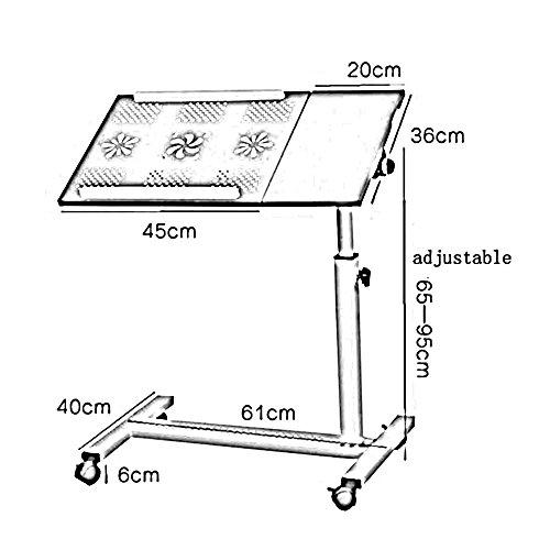 Afanyu Afanyu Rolling Laptop Tisch Notebook Ständer Schreibtisch Krankenhaus Tischständer Abschließbare Rollen, höhenverstellbar,Weiß -