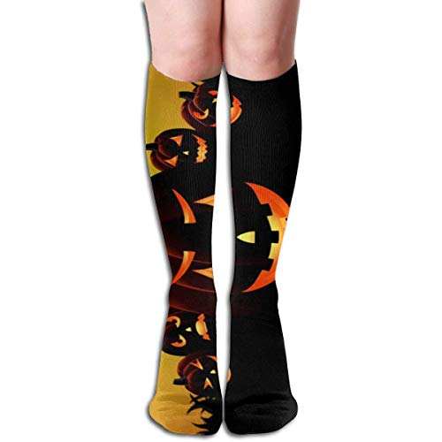 Halloween Kürbis Design Elastic Blend Lange Socken Compression Kniestrümpfe (50cm) Für den Sport