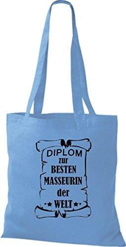shirtstown Borsa di stoffa DIPLOM A MIGLIOR masseurin DEL MONDO Sky