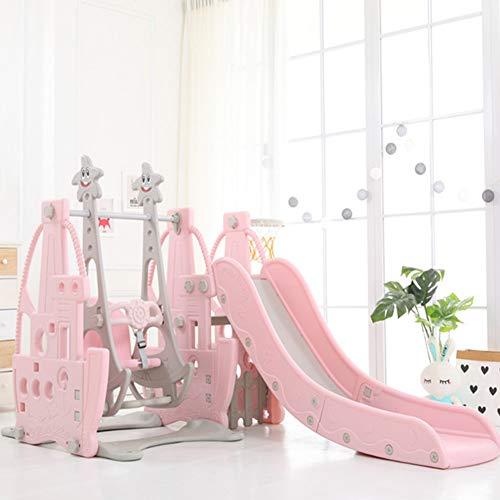 Columpio Interior para Niños Combinación Deslizante Multifuncional Set De Gimnasio Ajuste De 4 Velocidades Puesto De Baloncesto Pink