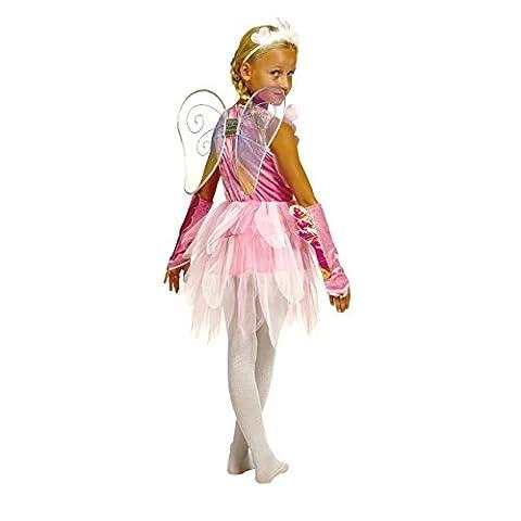 Kostümplanet® Schmetterling Kostüm für Kinder inklusive Kleid, Schmetterlings-Flügel , Größe: 104 Farbe: rosa, Verkleidung für Karneval, Fasching, - Mädchen