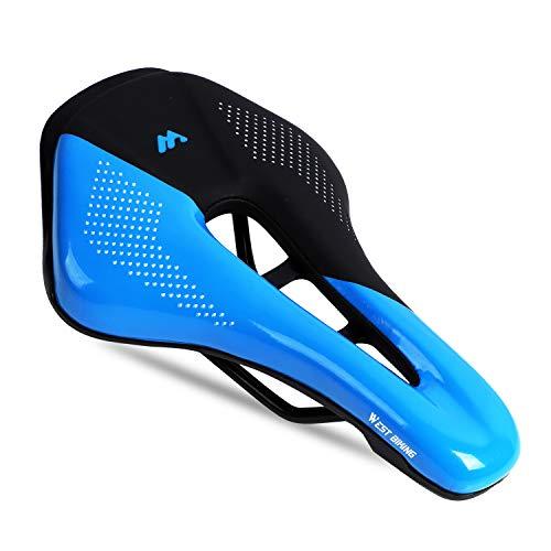 WESTGIRL Fahrradsattel, Komfortable Suspension Schaum Pad Fahrradsattel PU Atmungsaktiv Wasserdicht, Professionel Rennrad Mountainbike Sattel für Männer Damen, Radsport Zubehör (Blau)