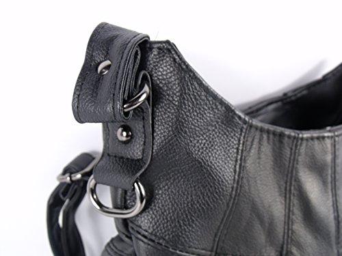 Damen Neu Hohe Qualität Weiches Leder Handtasche Schulter bag Schwarz