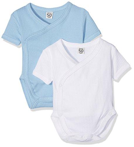 Care Baby-Jungen Body Bio Baumwolle, 2er Pack, Blau (Lightblue 749), 68