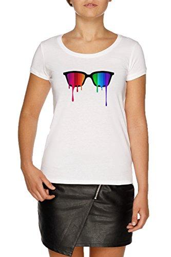 Regenbogen - Spektrum (Stolz) Hipster Nerd Brille Damen Weiß T-Shirt Größe XXL | Women's White...