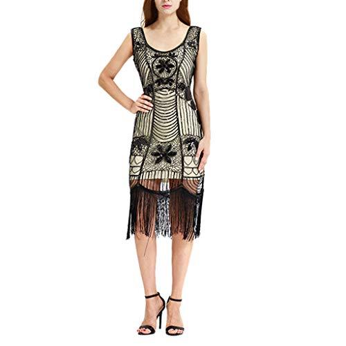 MAYOGO Festliche Kleider Vintage 20s Abschlussball Kleider Damen Charleston Kleid Gatsby Kleid Flapper-Kleid Retro 1920er Jahre Great Gatsby Motto Party Kleid Cocktailkleid,Ohne ärmel Wadenlänge