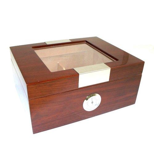 Officethrive 60-Cigar Humidor und Zeder gefüttert mit Glas Top mit Hygrometer und Humistat