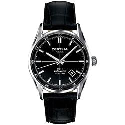 Certina 0 - Reloj de automático para hombre, con correa de cuero, color negro