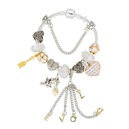 YANOUHZ Amor Pfeil Schlangenkette Charm Armbänder Perle Mit Liebe DIY Schmuck Für Frauen Valentines