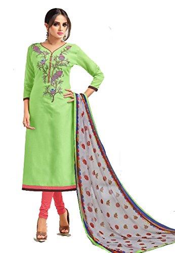 Cotton Chanderi Embroidery Work Salwar Kameez Suits Material