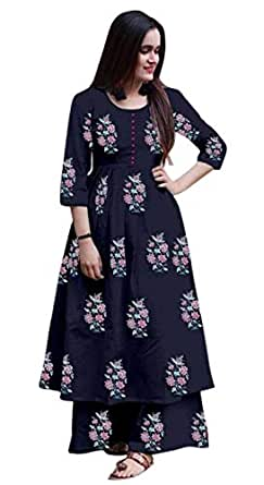 AESTHETIC PARADIGM,S Women's navy blue cotton kurti with palazzo pants ({ S })