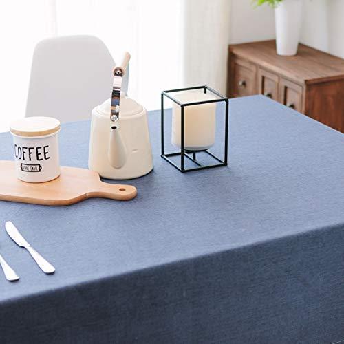 JiaQi Wasserdicht Staubdicht Rechteck Tisch-Abdeckung,Bettwäsche aus Baumwolle Tischdecken,Ideal für Buffet-Tisch Auf Hochzeiten oder Weihnachtsessen In ihrem zuhause-Blau 120x160cm(47x63inch) - Blau Rechteck Tischdecke