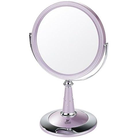 Danielle - en el espejo de pie con los elementos de acabado UV y Swarovski incrustaciones de rosa / Chrome - real foto con magnificación 7x - 29 cm x 17,5 cm
