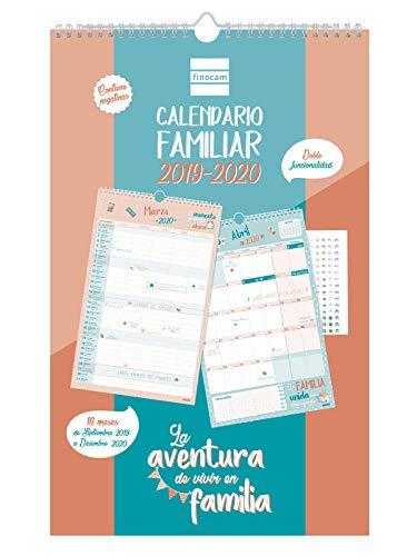 Calendario de pared familiar 16 meses 2019-2020 español Aventura Finocam