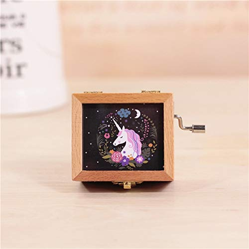 Music Boxes - Unicorn Wooden Retro Music Box Creative Decorations Party Birthday Favors Student Gift Hand - Studio Hand Dogs Light Have Expensive Mermaid Eligible Starry Granddaughters Rainbow