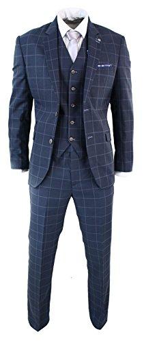 Herrenanzug 3 Teilig Grau Blau Tailored Fit Kariert Klassisch Vintage Retro Design (Klassischen Anzug)