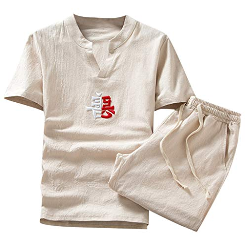 UINGKID Herren Jogginganzug Trainingsanzug Overall Jumpsuit Shirt Hose Fitness Sommer Mode lässig Baumwolle gedruckt Kurzarm Anzug Premium Bib Overall