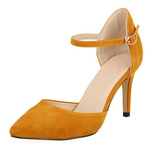 DULEE Damen Strap Stiletto Heel Spitzschuh Sandalen High Heel Pumps,Orange 39 Orange Stiletto