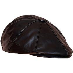 Dazoriginal Boina Cuero Casquillos plano BakerBoy Cap Viseragorras Boinas para hombre Cuero Gorra Plana sombrero gorros Newsboy Cap (NEGRO S/M 55-57CM)