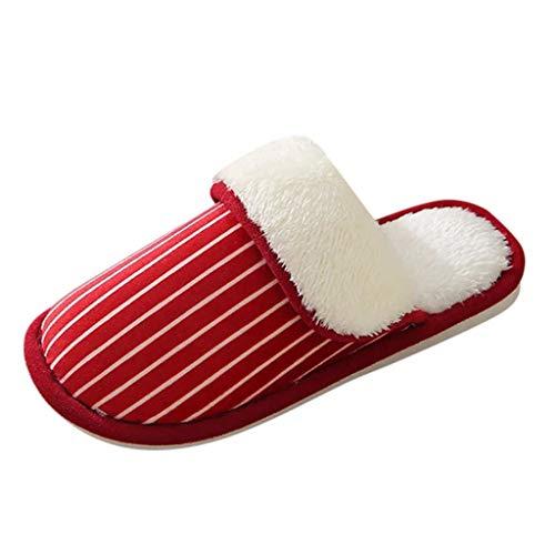 HDUFGJ Herren Damen Hausschuhe Winter Pantoffeln Wärme Home Hausschuhe Streifen Slippers Slippers Supersoft Clogs & Pantoletten Pumps Sandalen & Slides Stiefel35.5 EU(rot)