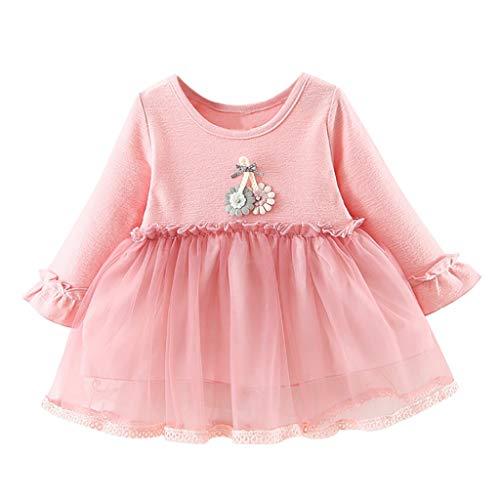 IZHH Kinder Kleider, Kleinkind Kinder Baby mädchen Langarm Blume Spitze Kleidung Party Prinzessin...