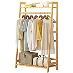 Piso Standing Coat Rack Cabinet Type, Bamboo Clothes / Hat / Shoe Storage Rack Clothing Shelf Multi-layer Multifunction Suspensiones Single Rod Type, L60 / 80/100 * D35 * H130cm, Color de madera