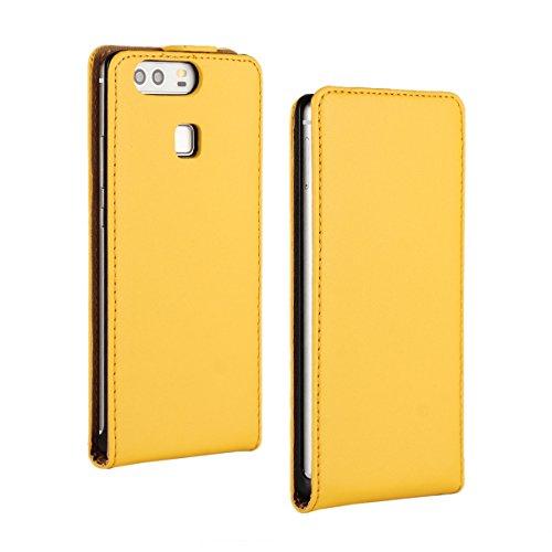UBMSA Skin Cover Kunstleder Tasche für Huawei P9 Schutzhülle Hülle Schale Etui Flip Case Cover UP DOWN (Yellow)