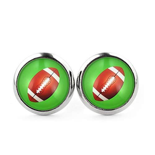 SCHMUCKZUCKER Unisex Ohrstecker Football Edelstahl Ohrringe Silber Grün 12mm (Kostüm Football Womens)