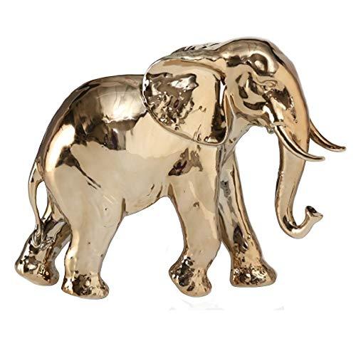 Home Collection - Figura Decorativa (31 cm), diseño de Elefante, Color Dorado